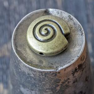 Бусина металлическая фигурная, античная бронза, 15x15x6...