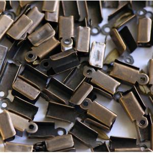 Зажим-концевик для шнура, античная бронза, 6х3 мм (в уп...