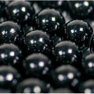 Бусина имитация нефрита, круглая, цвет черный, окрашен....