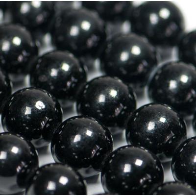 Бусина имитация нефрита, круглая, цвет черный, окрашен., 12 мм