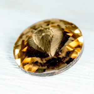 Кабошон стеклянный круглый Риволи, оранжевый, 14х7 мм...