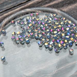 Бусина абакус стеклянная граненая, фиолетовый, 4х3 мм (...