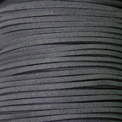 Шнур из искусственной замши, темно-серый, 3х1,4 мм
