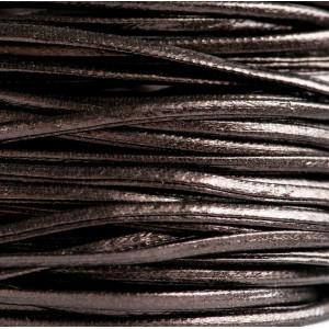 Шнур из искусственной кожи, плоский, коричневый, 2х1 мм...