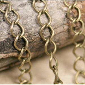 Цепочка для бижутерии, античная бронза, размер звена 9х...
