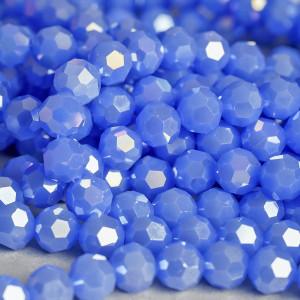 Бусина круглая стеклянная, граненая, голубой с перламут...