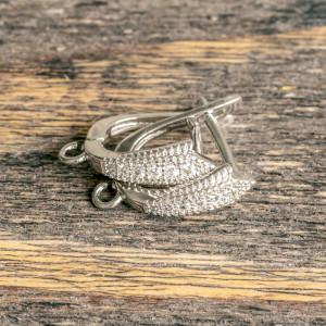 Швензы (основы для сережек), с цирконием,  цвет платина...