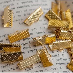 Зажим-концевик для ленты, золото, 16x8x5 мм...