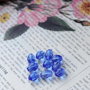 Бусина овальная стеклянная с гранями, голубой, 10х13 мм...