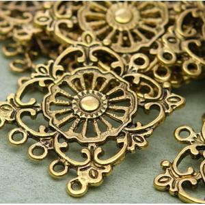 Коннектор 1-5 отв, античное золото, 35,5х2 мм...