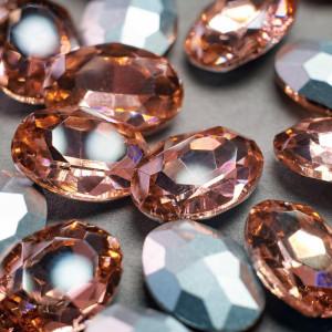 Кабошон стеклянный с гранями, овал, золотисто-розовый, ...