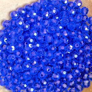 Бусина круглая стеклянная с гранями, синий, 4 мм (уп 30...