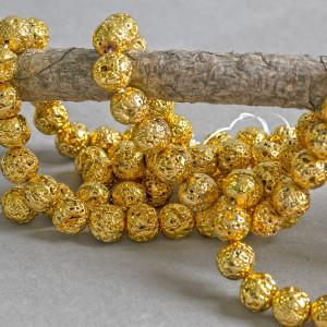 Бусина из натуральной лавы 12 мм, цвет золотистый...