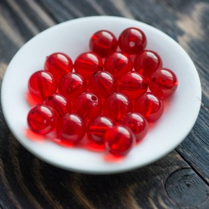 Бусина акриловая круглая, красный, 16,5x15,5 мм...