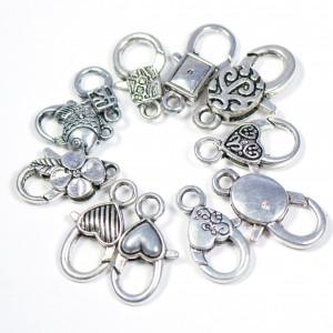 Замочек-лобстер, античное серебро, разных размеров...