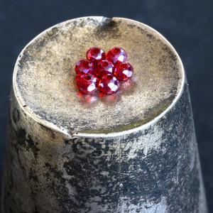 Бусина абакус стеклянная граненая, темно-красный АВ, 2....