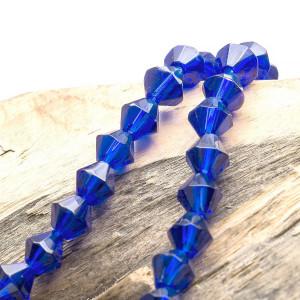 Бусина биконус стеклянная, темно-синий, 6 мм...