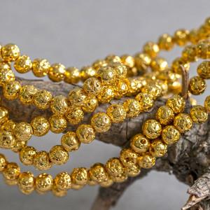 Бусина из натуральной лавы 6 мм, цвет золотистый...
