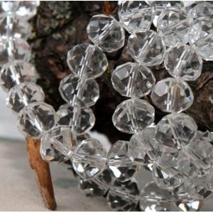 Бусина абакус стеклянная граненая, прозрачный, 14х10 мм...