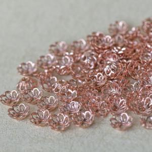 Шапочка для бусин, цв. розовое золото, 9x4 мм...