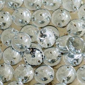 Пришивные стразы с огранкой Rivoli, прозрачный, 12 мм...
