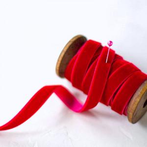 Бархатная лента, красный, ширина 6,5 мм...