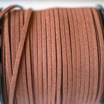 Шнур из искусственной замши, коричневый, 3х1.5 мм