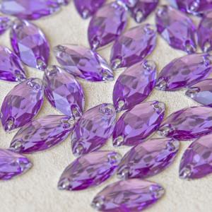 Пришивные стразы с огранкой Navette, фиолетовый, 9х18 м...