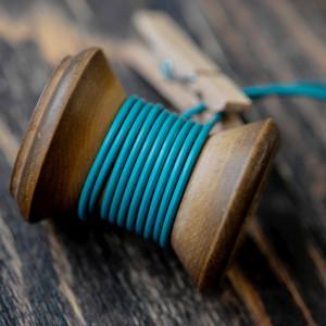 Шнур кожаный, цвет бирюзовый, диаметр 2 мм...