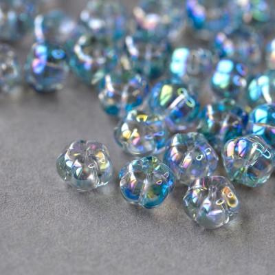 Бусина фигурная стеклянная, светло-голубой радужный, 15,5x14,5x6 мм