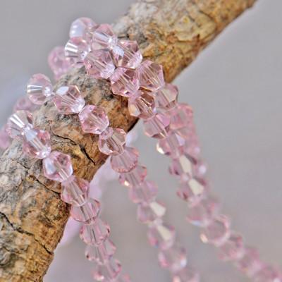 Бусина биконус стеклянная, розовый, 6 мм