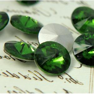 Кабошон стеклянный круглый Риволи, зеленый, 14х7 мм...