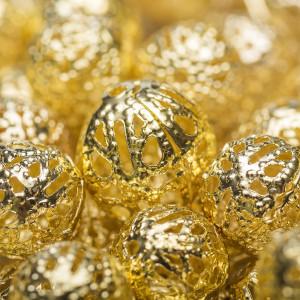 Бусины металлические, цв.золото, разного диаметра- 6-16...