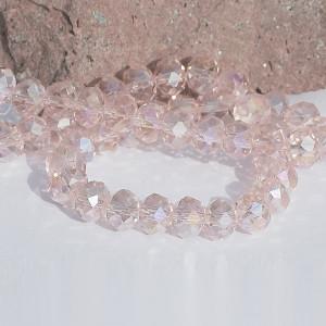 Бусина абакус стеклянная граненая, розовый, 12х8 мм...