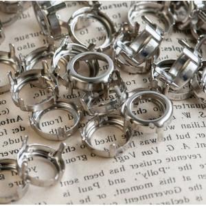 Цапы круглой формы, открытые, цвет платина, 14 мм...