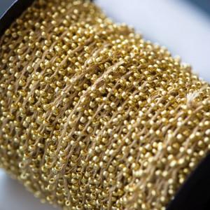 Бисер на нити, золотой, 2 мм...