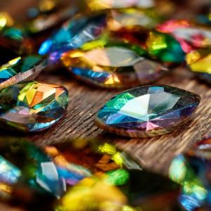 Кабошон стеклянный с гранями, капля, разноцветный, 18х9...