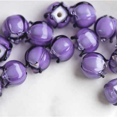 "Бусина, Мурано ""Ландыш"", фиолетовый, 9х9 мм"