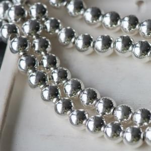 Бусина гематит синтетический, металлизир., цвет серебро...