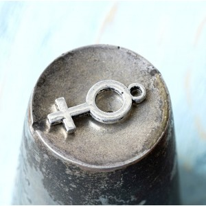 Подвеска металлическая, античное серебро, 18x8x1,5 мм...