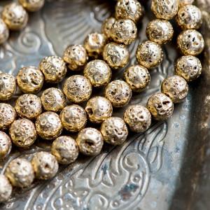 Бусина из натуральной лавы 6 мм, цвет золото металлик...