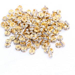 Разделитель со стразами, цвет металла золото, 6х3 мм...