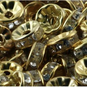 Разделитель со стразами, цвет металла золото, 8х3.5 мм...