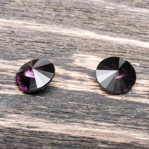 Кабошон стеклянный круглый Риволи, фиолетовый, 12 мм...