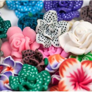 Кабошон-цветок из полимерной глины, разные цвета и разм...