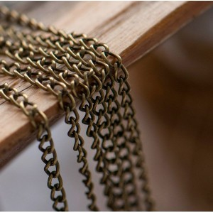 Цепочка для бижутерии, античная бронза, размер звена 3х...