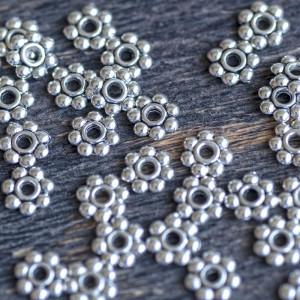 Разделитель для бусин, цв. античное серебро, 6х1,5 мм  ...