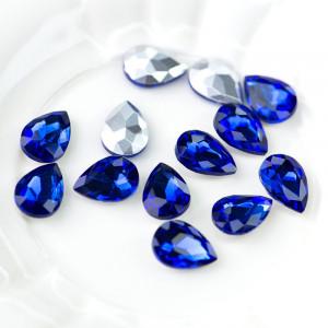 Кабошон стеклянный с гранями, капля, светло-синий, 14х1...
