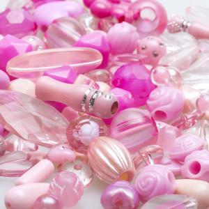 Набор из акриловых бусин разной формы, розового цвета...