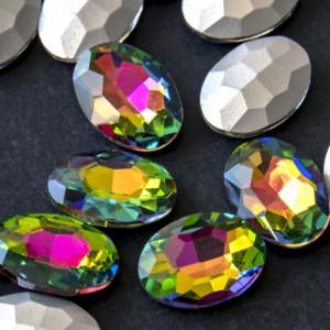 Кабошон стеклянный с гранями, овал, разноцветный, 14х10...